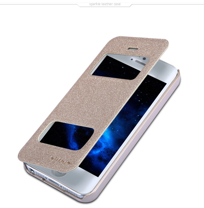 Nillkin PU and PC Material Solid Color Cover Case with Dual View Window for iPhone 5 5S
