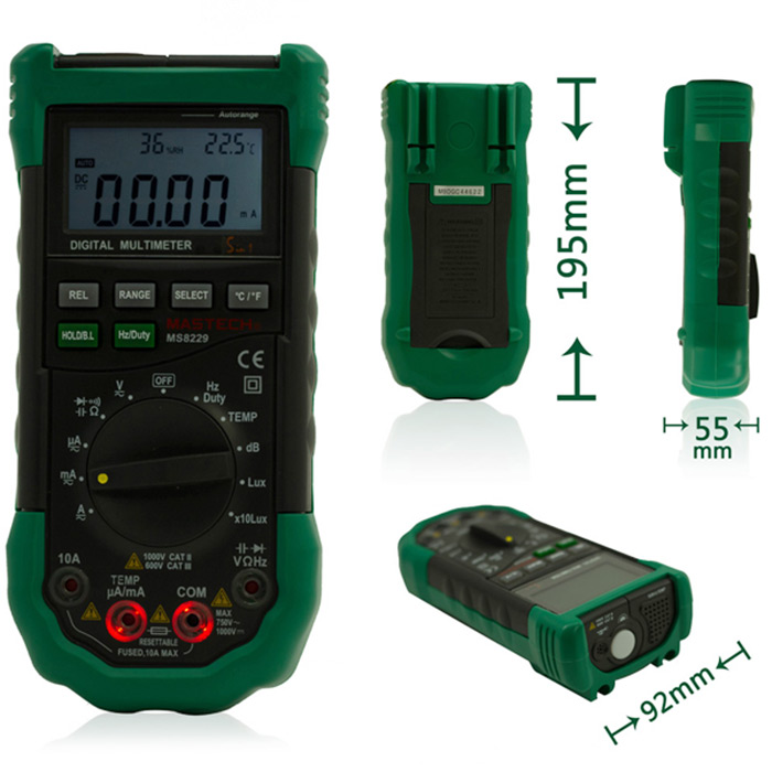 MS8229 Auto Ranging Digital Multimeter 4000 Counts Temperature Humidity Tester