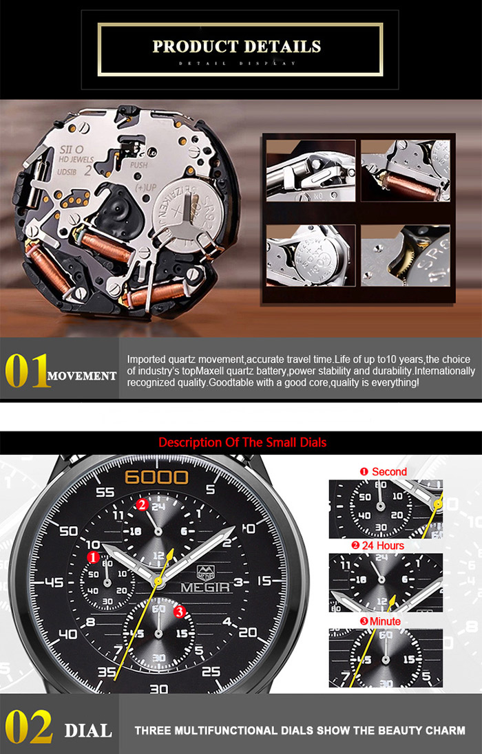 MEGIR 3005 Water Resistant Male Japan Quartz Watch with Luminous Analog Stainless Steel Strap Working Sub-dials