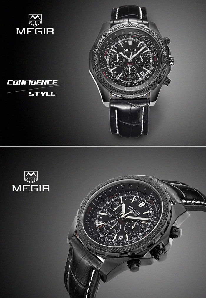 MEGIR 2007 Genuine Leather Strap Water Resistant Male Japan Quartz Watch with Luminous Analog Working Sub-dials