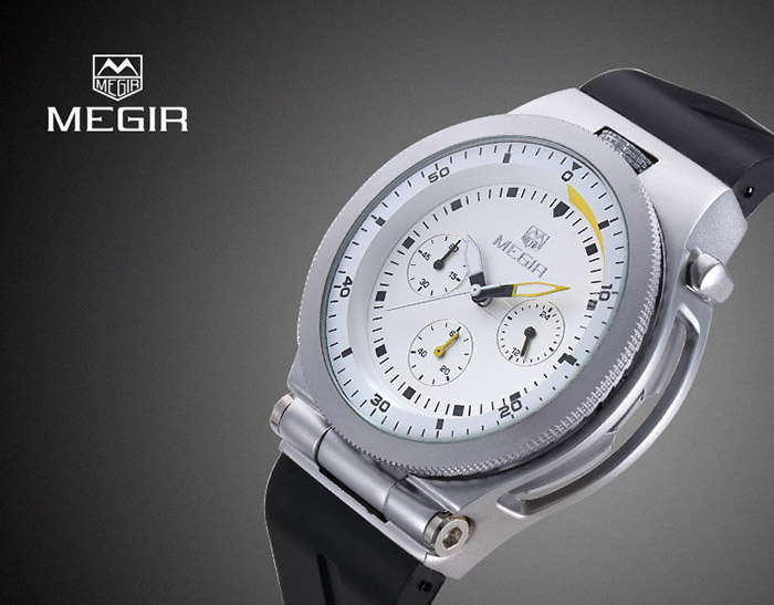 MEGIR 2512 Water Resistant Male Japan Quartz Watch with Luminous Analog Silicone Band Working Sub-dials