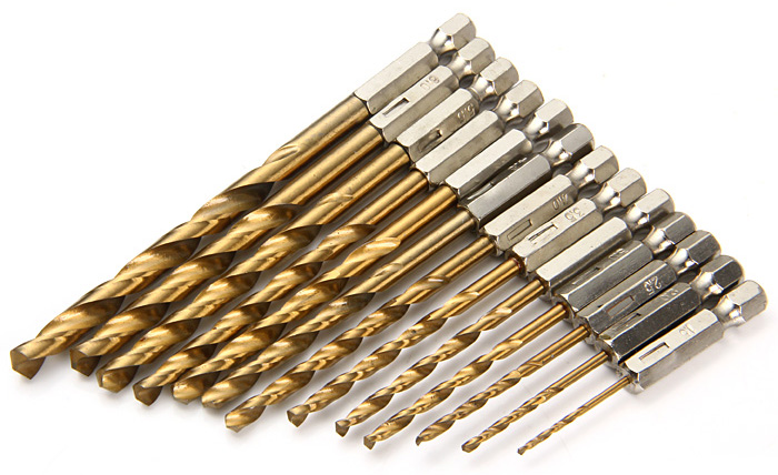 13PCS 1.5mm - 6.5mm Titanium Coated HSS Drill Bit Set 0.25 inch Hex Shank