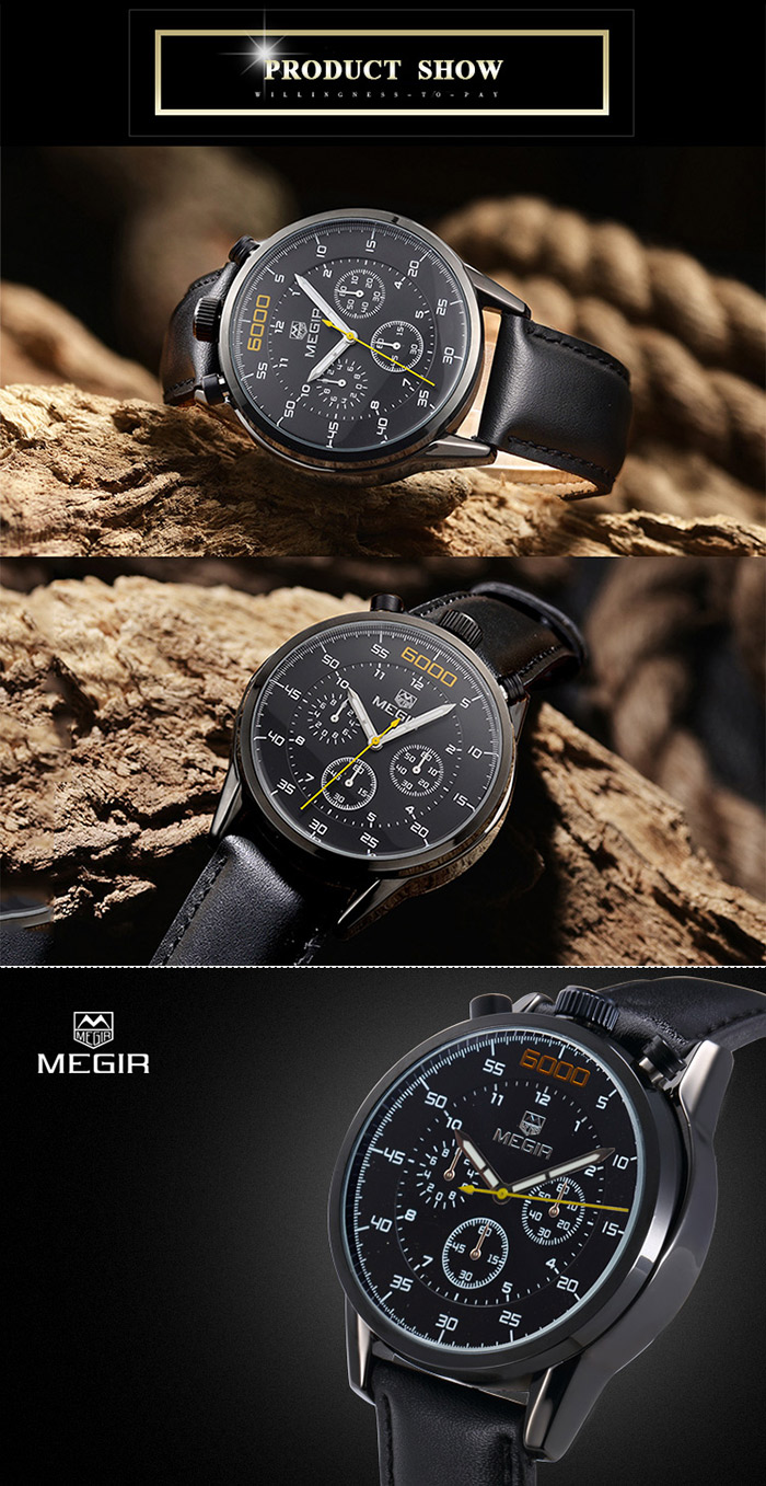 MEGIR 2508 Water Resistant Male Japan Quartz Watch with Stopwatch Genuine Leather Band Working Sub-dials