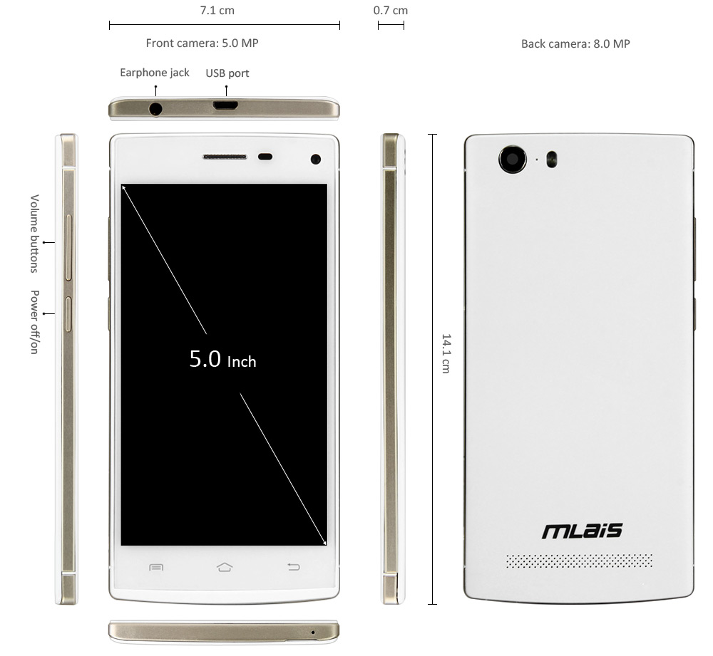 5.0 inch Mlais M9 Plus Android 4.4 3G Smartphone MTK6592M 1.4GHz Octa Core 1GB RAM 8GB ROM