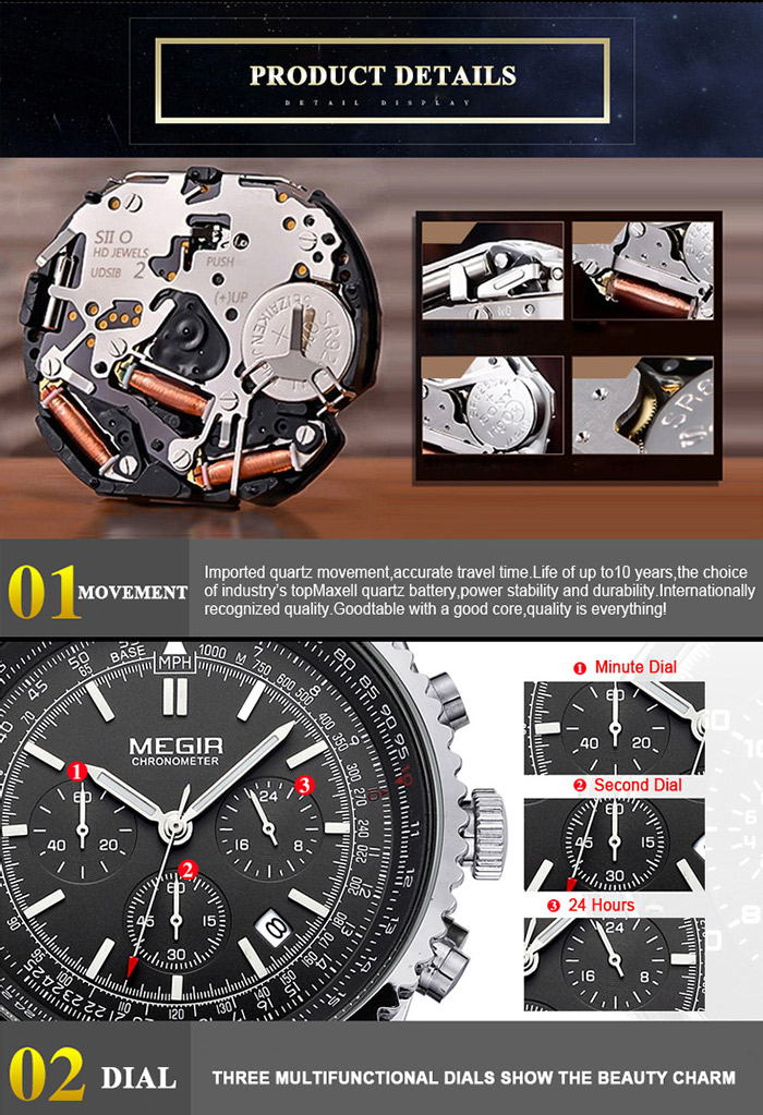 MEGIR 2009 Male Japan Quartz Watch with Date Display Luminous Pointer