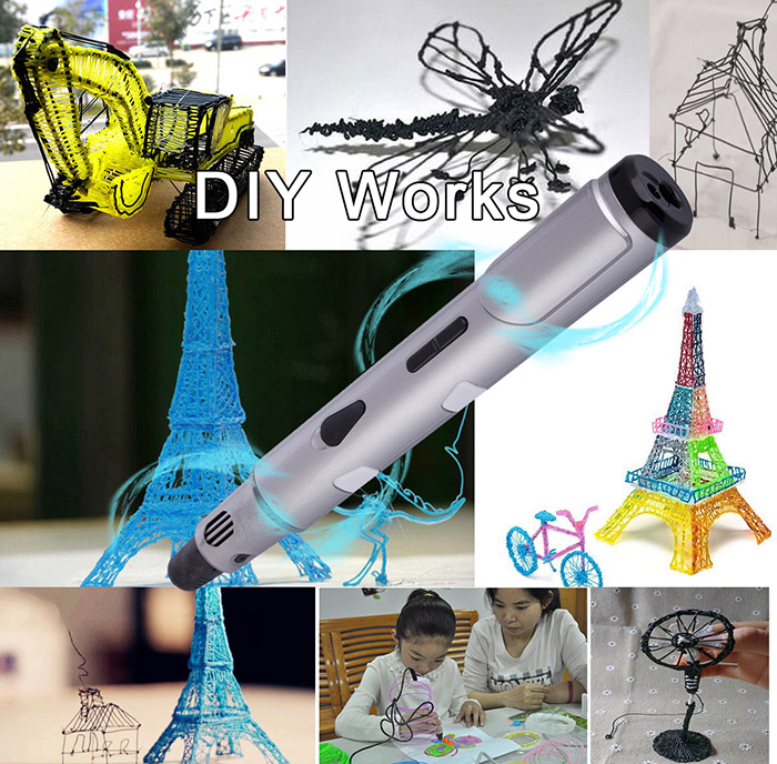 12V 3A Three-dimensional 3D Printer Pen Adjustable Temperature and Spinning Speed