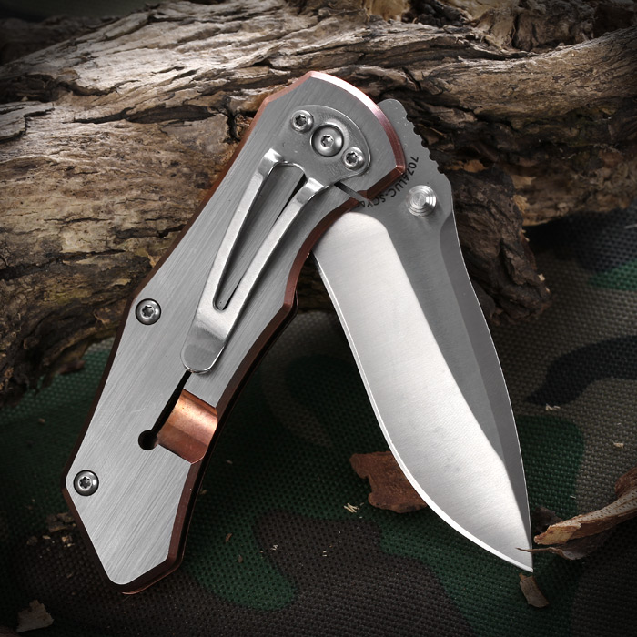Sanrenmu 7074 LUC - SCY Liner Lock Folding Knife with Bronze Edge for Outdoor Adventure and Climbing