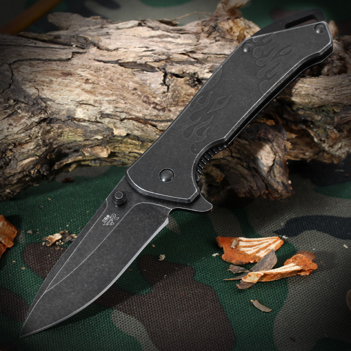 Sanrenmu 7089 LUY - SDW1 Folding Knife with Liner Locking and Clip for Outdoor Camping