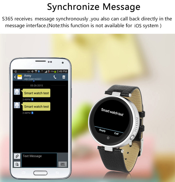 ZGPAX S365A MTK2502 Double Bluetooth Smart Watch SIRI Dialer SMS Pedometer