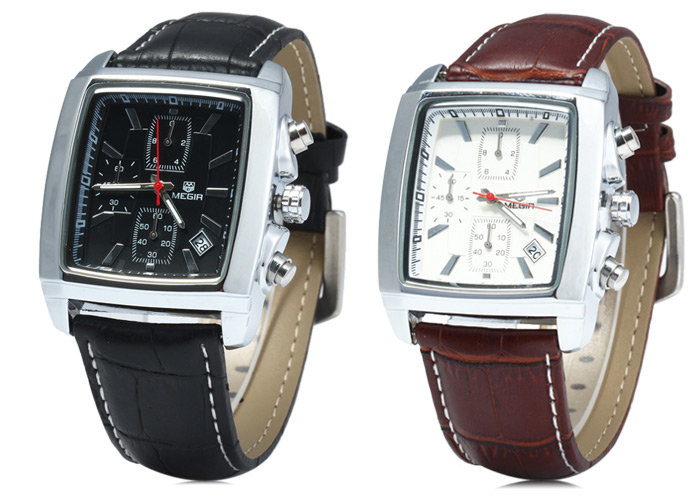 MEGIR 2028 Working Sub-dials Water Resistance Quartz Watch with Date Function Genuine Leather Band for Men