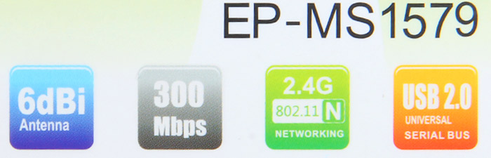 EDUP EP - MS1579 Wirless USB Adapter 802.11n 300Mbps WiFi with 6dBi Antenna for Desktop Laptop