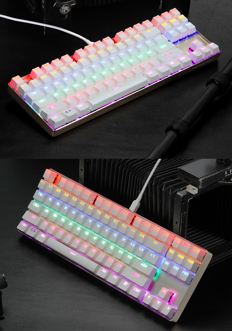 Motospeed K87 RGB Blue Switch Gaming Mechanical Keyboard Full N-key Rollover with 10 Backlight Modes for LOL CS Dota