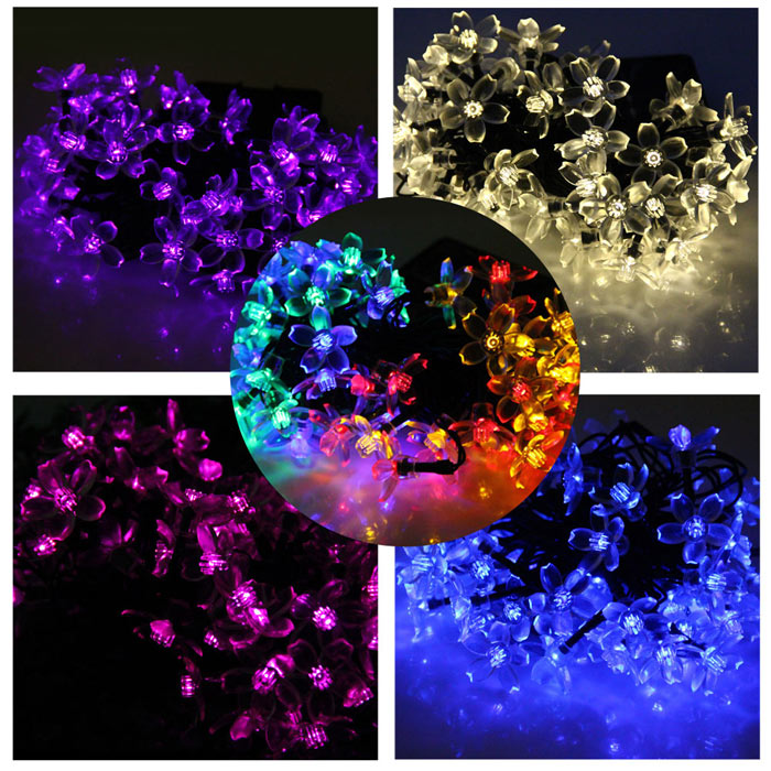 Christmas Props 7m 50 LEDs Solar String Light Peach Blossom Style Lamp Decors New Year Decoration