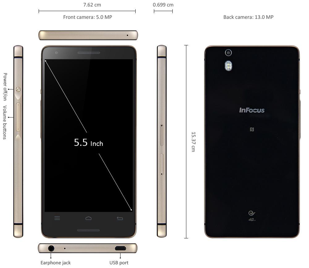 5.5 inch Infocus M810T 4G Android 4.4 Phablet with Snapdragon 801 Quad Core 2.5GHz FHD Screen 2GB RAM 16GB ROM 13.0MP Camera