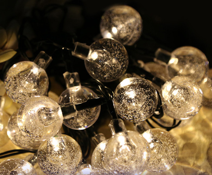 Christmas Props 6m 30 LEDs Solar String Light Bubble Style Lamp Decors New Year Decoration