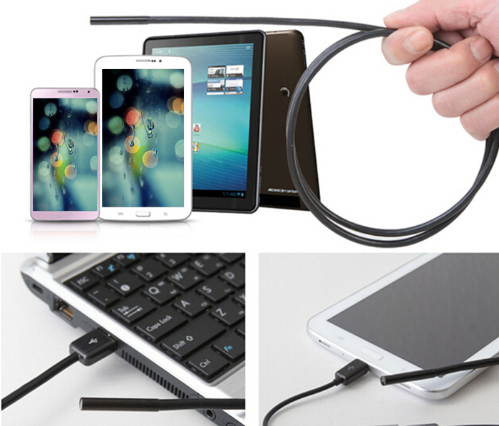 TS - E5502M 2m USB 2.0 Endoscope Water Resistant 480P 1.3 MP with 6 LED for Android Phone / PC