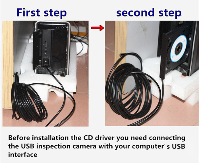 OT106 5m USB 2.0 Endoscope IP67 Waterproof 480P 1.3MP 3 - 8 Focal Length with 6 LED Lamp for Windows PC