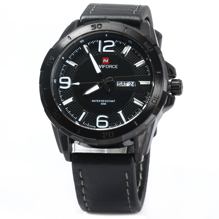 Naviforce NF9055M Water Resistance Quartz Watch Date Day Function Genuine Leather Band for Men