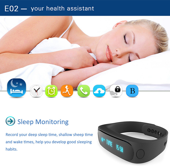 E02 Smart Bluetooth 4.0 Watch Bracelet Call Reminder Sleep Management Anti-lost Camera Control Pedometer