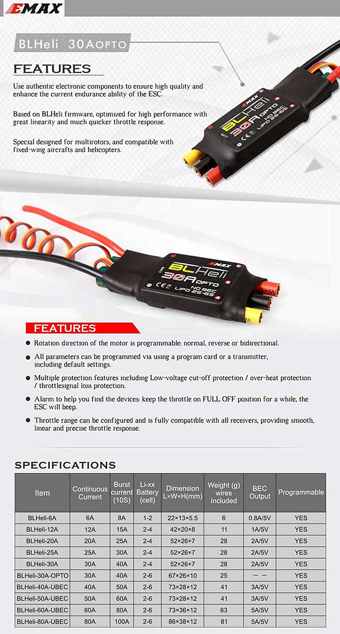 Emax BLHeli 30A OPTO ESC for Quadcopter QAV250