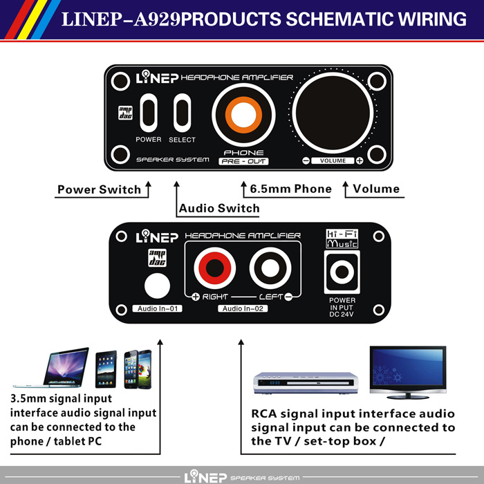 LINEP A929 Headphone Amplifier Switcher High Impedance for Professional Audio Equipment