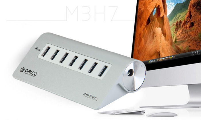 ORICO M3H7 Super Speed Aluminum 7 Ports USB 3.0 Charging Hub with Power Adapter