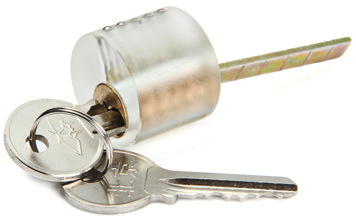 Transparent Slot Lock with 2 Keys Kit for Locksmith Practice Training Skill