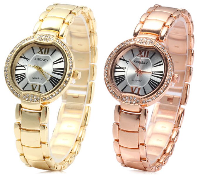 Kingsky Golden Case Diamond Quartz Watch with Stainless Steel Band for Women