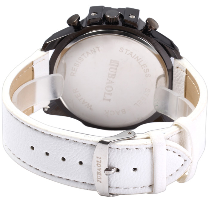 Jubaoli Luminous Pointers Big dial Male Quartz Watch with Decorative Sub-dials Leather Band