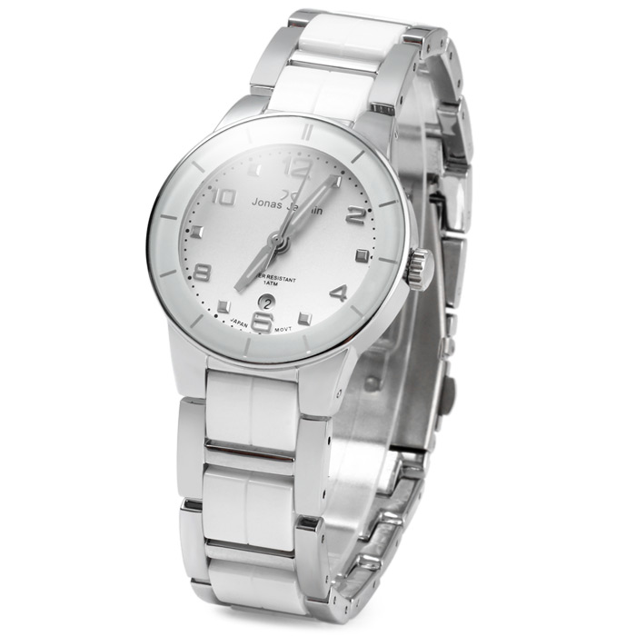 Jonas Jasmin 2013 Water Resistance Female Japan Quartz Watch with Date Function Ceramic + Steel Strap