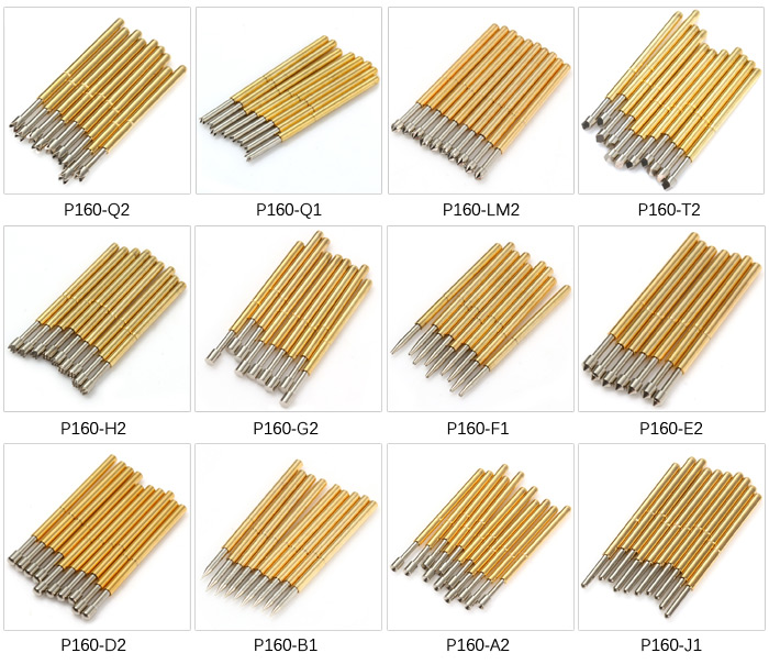 100PCS P160 - H2 Spring PCB Test Probe Pin 1.5mm for Testing Mould Chip Circuit Board