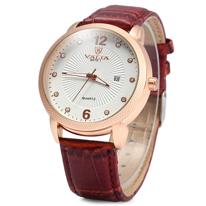 Valia 8610 - 1 Male Quartz Watch with Golden Case Diamond Scales Date Function Leather Strap