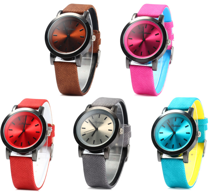 Mitina 259 Japaese Quartz Movement Female Watch with Big Dial Leather Band