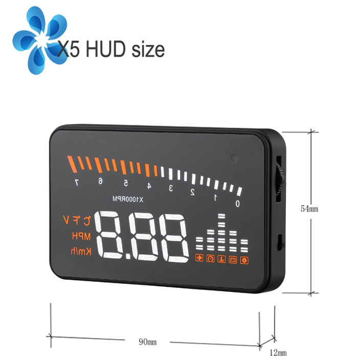 X5 3 inch Car OBDII HUD Head Up Display Projector Speed Warning System