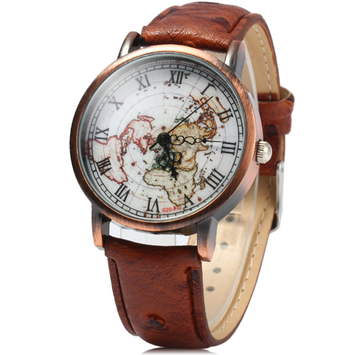 FEIFAN 62056G Male Quartz Watch with Roman Numerals Leather Band