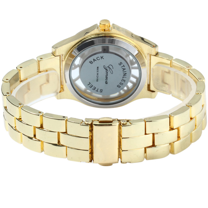 Geneva Women Quartz Watch with Transparent Dial Stereo Scales Stainless Steel Watch Strap