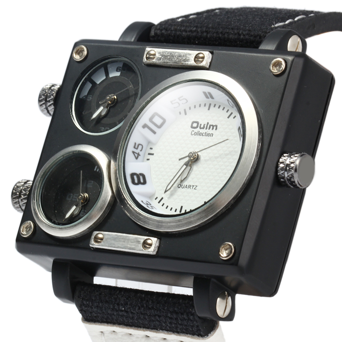 Oulm 3595 Three Movt Quartz Watch Rectangle Dial Canvas + Leather Band Wristwatch