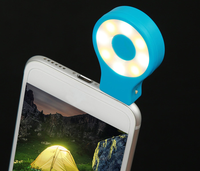 RK07 Selfie LED Light Dual Color 3 Modes 3.5mm Plug USB Rechargeable for iPhone 6S / 6S Plus / Samsung S6 / Blackberry Smart Phones
