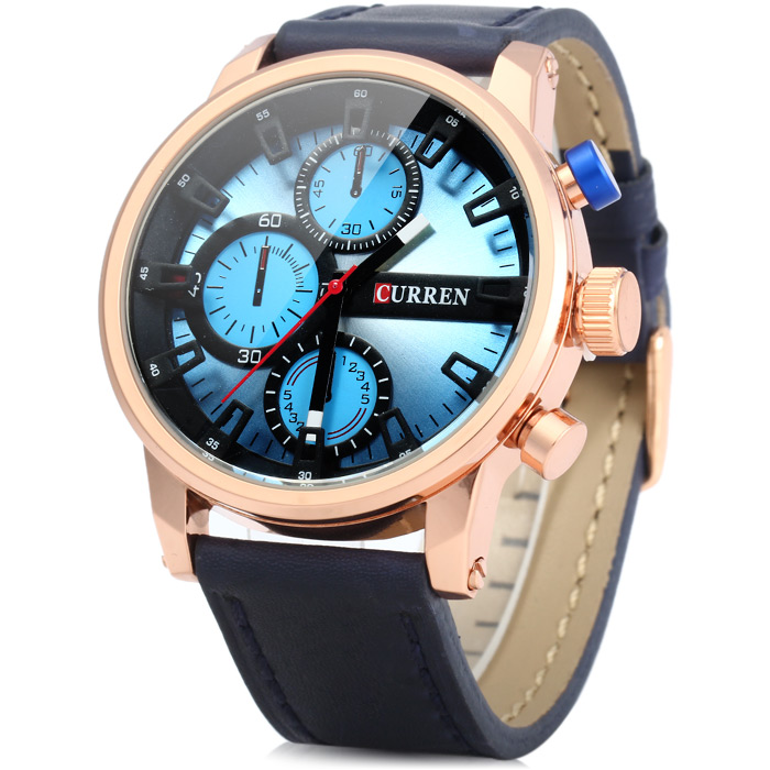 Curren 8170 Decorative Sub-dials Quartz Watch with Stereo Scale Leather Band for Men