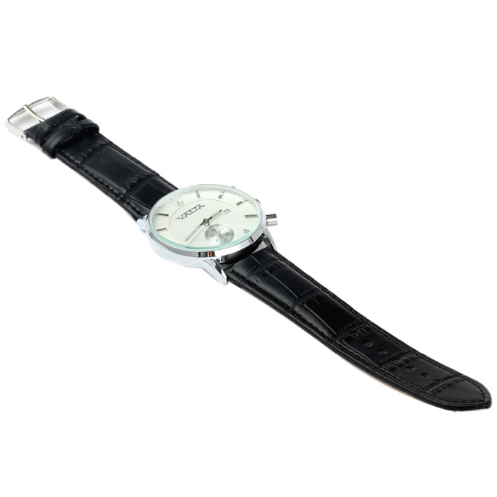 Valia 8281 Decorative Sub-dial Quartz Watch with Date Function Leather Band for Men