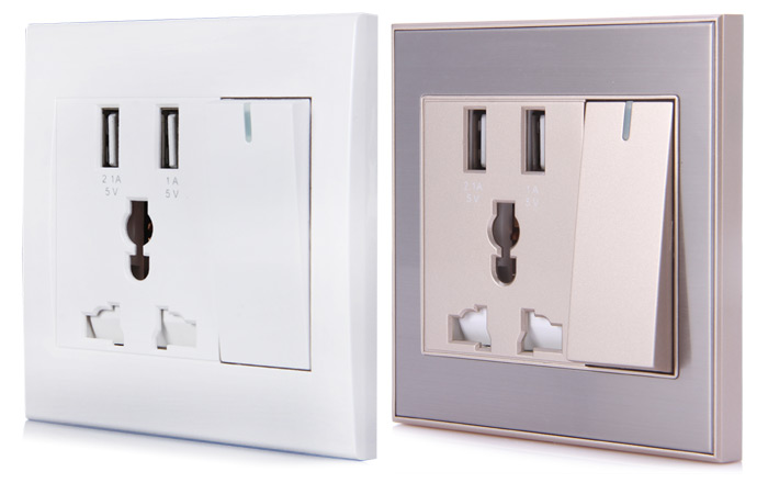RNAi 901 Dual USB Port with Switch Electric Wall Charger Socket Power Outlet Panel Plate