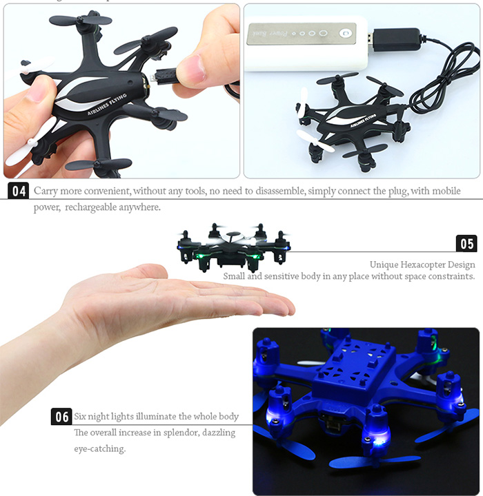 HJ W609 - 5 6 Axis Gyro 4.5CH 2.4G RC Hexacopter with 3D Flips Rolls for RC Enthusiasts