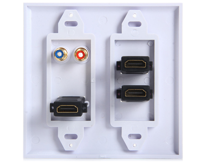 5 Port 3 HDMI 2 RCA Video HDTV Wall Plate for TV Computer