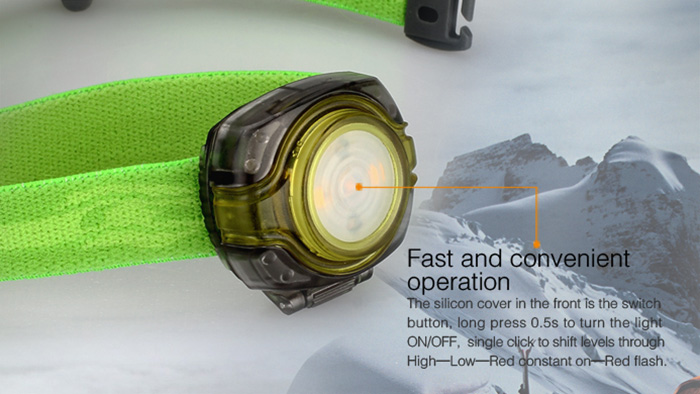 Fenix HL05 Compact LED Headlamp 8Lm White + Red 4 Modes Multifunctional Waterproof Wrist Light ( 2 x CR2032 Battery )