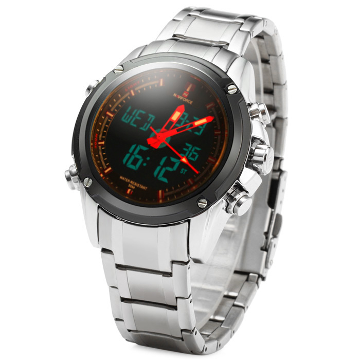 Naviforce NF9050M Double Movt IP Plating Quartz LED Watch Water Resistance for Sports