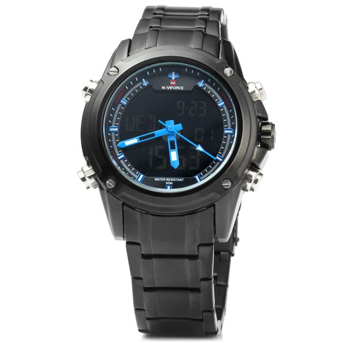 Naviforce NF9050M Double Movt IP Plating Quartz LED Watch 10M Water Resistance for Sports