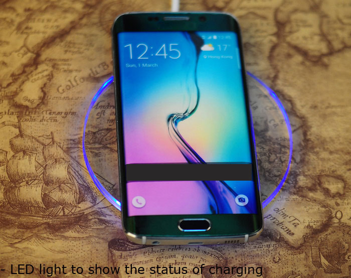 Itian A9 Qi Standard Wireless Charging Transmitter Pad Launcher for Samsung Note 5 / S6 Edge Plus / HTC M9 Phone Devices
