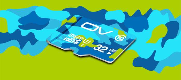 OV 32GB Micro SDHC Memory Card Camouflage Version Class 10 with 80MB/s Reading Speed 12MB/s Writing Speed