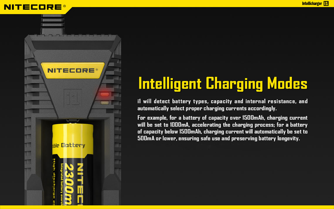 Nitecore i1 Intelligent Lithium-ion Battery Charger Dual Output for EGO / USB Devices