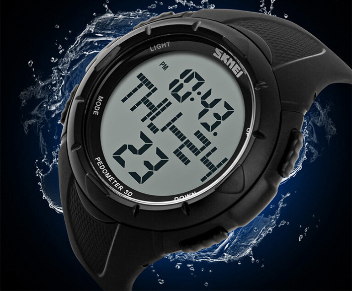 Skmei 1122 Sports Men Watch with Pedometer 3D Function 5ATM Water Resistant